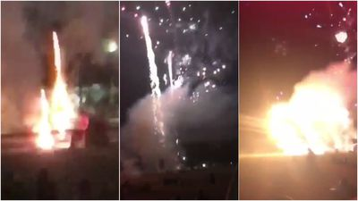 Moment fireworks display goes rogue