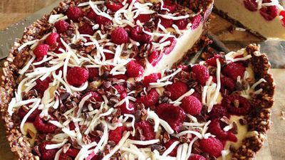 "<a href=""http://kitchen.nine.com.au/2016/05/20/10/28/kara-conroys-raw-coconut-raspberry-cacao-cake"" target=""_top"">Kara Conroy's raw coconut raspberry cacao cake</a> recipe - vegan, raw, vegetarian, refined sugar free, dairy free"