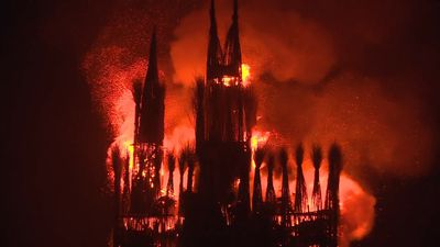 Gothic-style cathedral torched for Russian festivalgoers in haunting spectacle