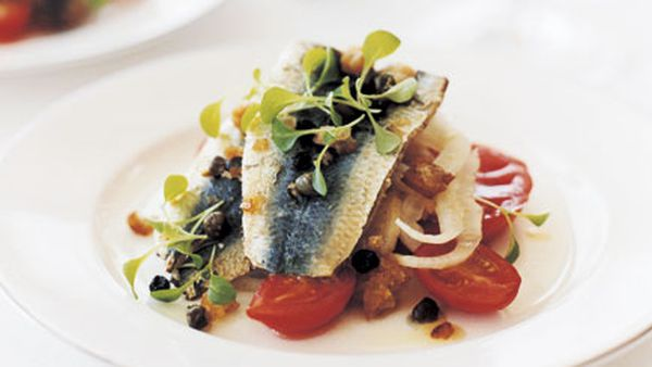 Pan-fried sardines with breadcrumb salsa, heirloom tomatoes and shaved fennel