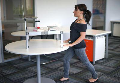 Standing hip flexor and calf release stretch