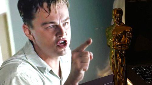 The user has now manipulated a shot of DiCaprio from his movie Revolutionary Road to make it look as though he is crying and yelling at an Oscar statue. (Imgur: iHasanOscar)