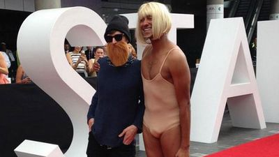 Triple J hosts Matt and Alex came dressed as Chet Faker and Sia. (Tom Steinfort, 9NEWS)