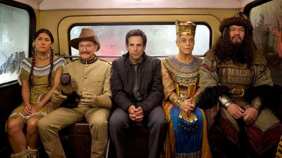 Mizuo Peck, Robin Williams, Ben Stiller, Rami Malek and Patrick Gallagher star in 'Secret of the Tomb', the third instalment of the Night at the Museum series. (Supplied)