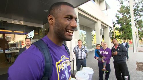Suliasi Vunivalu was all smiles before getting on the team bus.