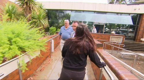 Brett encounters some former partners outside court.
