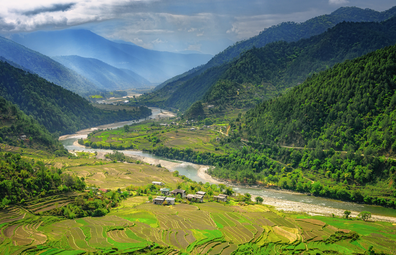 Lush mountains and rice paddies of Bhutan