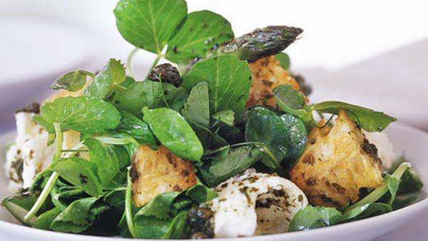 Char-grilled asparagus and mozzarella salad with warm caper vinaigrette
