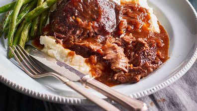 "Recipe: <a href=""http://kitchen.nine.com.au/2017/05/10/16/29/beef-cheeks-in-red-wine-sauce"" target=""_top"">Dan Churchill's beef cheeks in red wine sauce with mash</a>"
