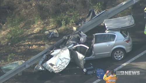 The Holden Astra was destroyed in the crash. (9NEWS)