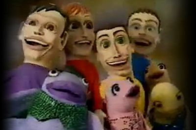 Oh, sure — the Wiggles might be worldwide favourites, but they revealed their terrifying puppet alter egos in a clip for their song 'Point Your Fingers' (which, if played backwards on the night of a full moon, will raise dark spirits from the dead) (Probably).