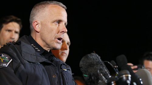 Austin Police Chief Brian Manley addresses reporters after the suspect's death. (AP/AAP)