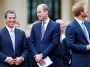 Peter Phillips with cousins Prince William and Prince Harry.