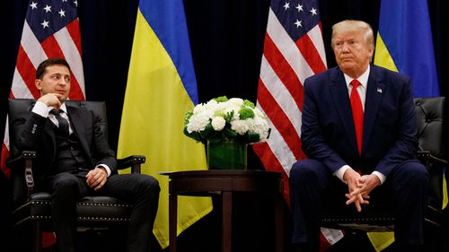 In this September 2019 file photo, President Donald Trump meets with Ukrainian President Volodymyr Zelenskiy in New York during the United Nations General Assembly.