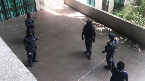 Security in PNG parliament after a violent pay dispute saw Disgruntled police, military and prison guards storm the building.