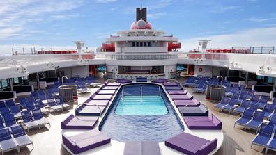 Virgin Voyages wellbeing space with pool