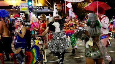 150 floats travelled five kilometres down Sydney's Oxford Street. (AAP)