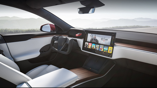 The new interior of the Model S includes a rectangular steering wheel with no stalks and a 17-inch high-definition screen in the centre console.