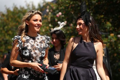 Sam Frost (left) arrives at Flemington Racecourse for Derby Day 2017.