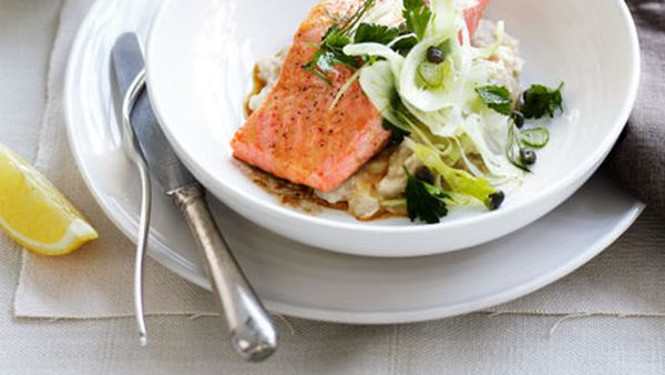 Roast ocean trout with white bean purée and fennel salad