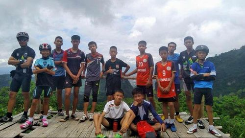 The first photos have emerged of the 12 Thai schoolboy football players believed to be stuck in a cave underground. Picture :Facebook.
