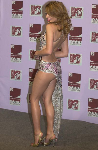 Kylie Minogue wearing Julien MacDonald at the MTV European Music Awards in November, 2000