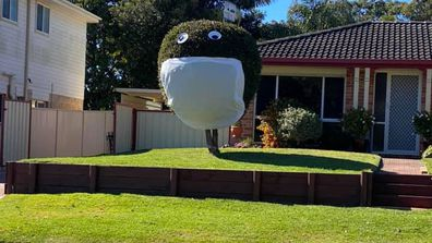The owners of this property in the NSW Central Coast suburb of Buff Point have gone the extra mile to put smiles on the faces of passersby. They get extra points for their impeccable tree trimming.