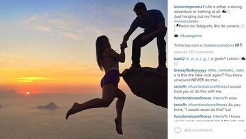 "<p _tmplitem=""1"">This Brazilian couple's death-defying photo series dangling over an almost one kilometre drop will make your heart stop.</p><p _tmplitem=""1""> Self-confessed adrenaline junkies Leonardo Pereira, 23, and Victoria Nader, 18, scaled Pedra de Gavea in Rio de Janeiro – the site of one of their very first dates – to capture the romantic images.</p><p _tmplitem=""1""> The pair took it in turns to perch over Pedra de Gavea's 844m-high cliff as a mystery friend took snaps of them.</p><p _tmplitem=""1""> In one photo, Ms Nader demonstrates her trust in Mr Pereira, hanging completely over the edge holding only her boyfriend's hand.</p><p _tmplitem=""1""> While in another, their roles are reversed as Mr Pereira hangs off the rock and his beaming girlfriend smiles from above. </p><p _tmplitem=""1""> Their photos have received countless likes on their Instagram pages, which they regularly update with envy-inducing snaps from around the world. <i>All images Instagram/@leonardopereira1/@victorianader1</i></p>"