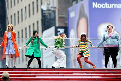 Dianna Agron, Jenna Ushkowitz, Heather Morris, Lea Michele and Ashley Fink perform in Times Square.
