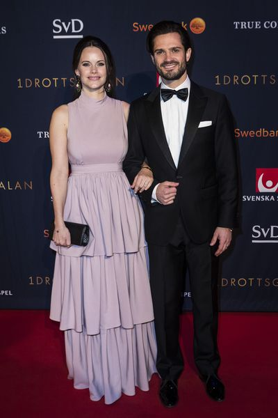Prince Carl Philip and Princess Sofia of Sweden, wearing Greta, at the annual Swedish Sports Awards Gala  in Stockholm, Sweden, January, 2018
