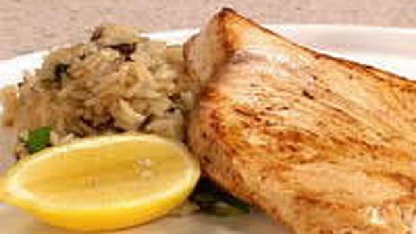 Swordfish with Raisin and Almond Rice
