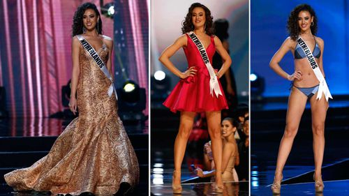 Miss Universe Netherlands' Zoey Ivory in her various pageant outfits. (AAP)