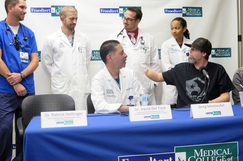 Mr Manteufel was discharged two weeks ago from the Froedtert and the Medical College of Wisconsin in Milwaukee.