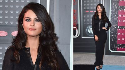 Selena Gomez kept it classic and classy in an all-black ensemble. (AAP)
