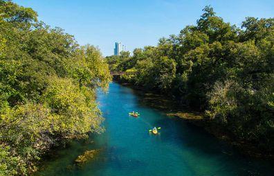 Kayaking on Lady Bird Lake, Austin Texas