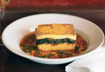 Lasagne of spinach, polenta and goat's curd