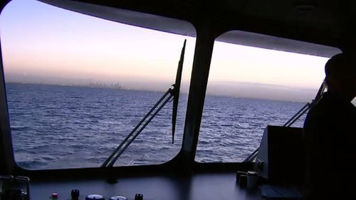 A beautiful sunrise greeted ferry patrons this morning. Picture: 9NEWS