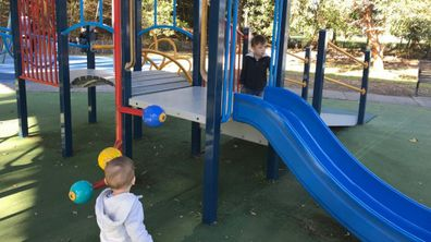 Heidi Krause's sons playing at the park.