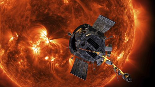 This image made available by NASA shows an artist's rendering of the Parker Solar Probe approaching the Sun (Steve Gribben/Johns Hopkins APL/NASA via AP)