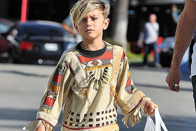Gwen Stefani and Gavin Rossdale's firstborn, Kingston, heads out to a Halloween carnival in a native American Indian costume.