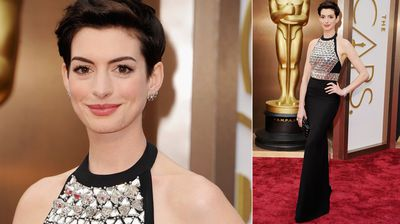 Last year's best supporting actress winner Anne Hathaway goes for a sleek style.