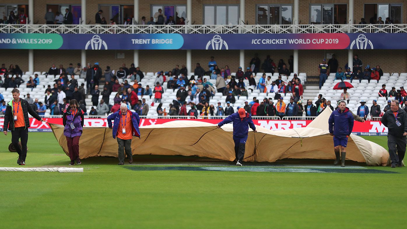 Rain has forced the abandonment of the World Cup game between India and New Zealand.