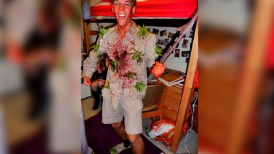 <b>Steve Irwin:</b>While it's fine to dress up as the Crocodile Hunter for Halloween, the blood on the shirt and stingray toy are a sharp reminder of Irwin's death from a stingray in 2006. (University of Sydney blog)