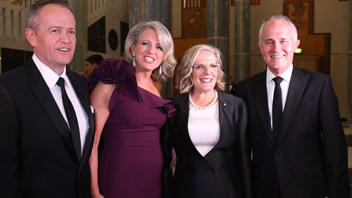 Then  Prime Minister Malcolm Turnbull, his wife Lucy and Australian Opposition Leader Bill Shorten and wife Chloe at last year's Mid-Winter Ball.