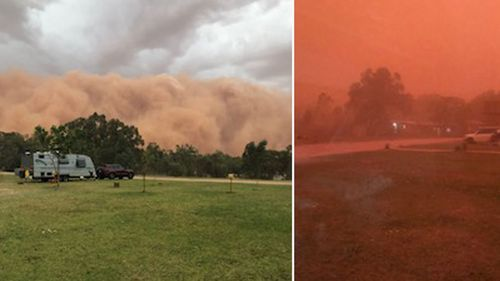 Images of the dust storm closing in on a caravan park in Wilcannia, western NSW, yesterday.