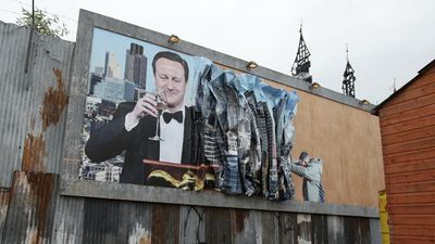 David Cameron features in this artwork by Peter Kennard and Cat Phillips on display at Dismaland. (AAP)