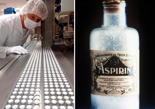 An employee of pharma company Bayer checks the production of aspirin pills in Bitterfeld, Germany (left); photo on right shows an 1899 bottle of aspirin manufactured and distributed in powder form by Bayer.
