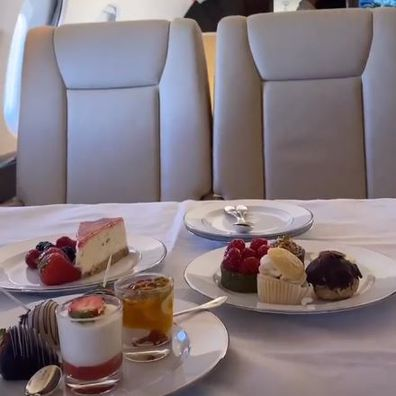 Rebel Wilson and Jacob Busch share their dessert selection on their private jet.
