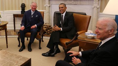 Prince Charles, Prince of Wales (left) meet US President Barack Obama (centre) and US Vice President Joe Biden (right) in the Oval Office in the White House on March 19, 2015 as part of their trip to Washington DC.