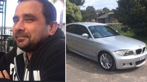 Michael Mammone and his silver BMW which was found less than 1km from where his body was discovered.